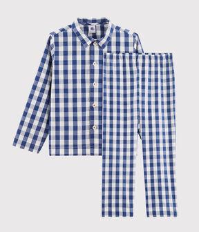 Pijama de cuadros en sarga de niño azul Medieval / blanco Marshmallow