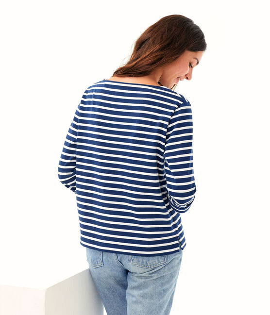 Camiseta marinera para mujer azul Medieval / blanco Marshmallow