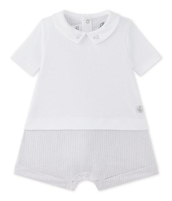 Pelele corto para bebé niño bi-materia blanco Ecume / beige Beige