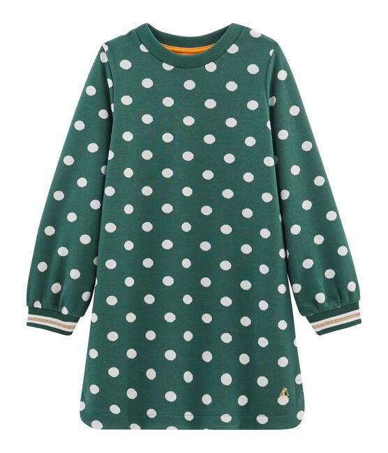 Vestido estampado para niña verde Sousbois / blanco Marshmallow