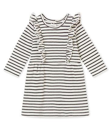 Vestido a rayas marineras para bebé niña blanco Marshmallow / negro City