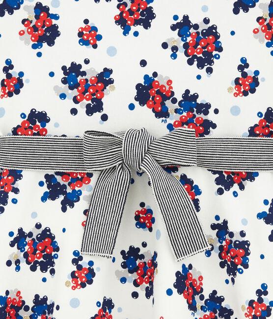 Vestido con estampado floral en muletón blanco Marshmallow / blanco Multico