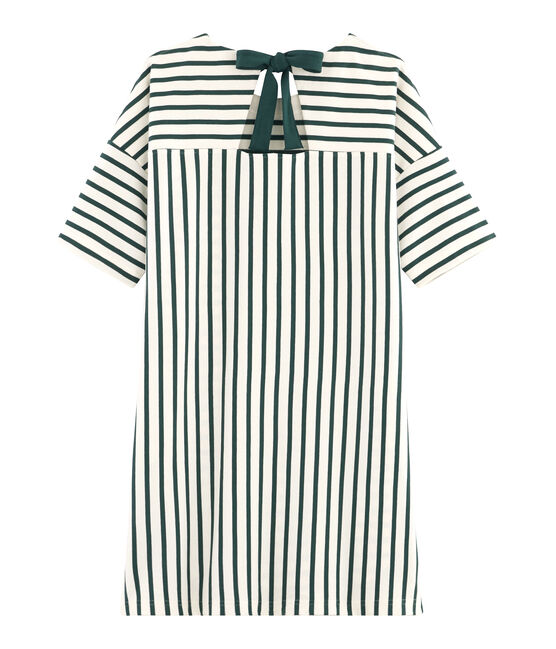 Vestido de manga corta para mujer beige Coquille / verde Sousbois
