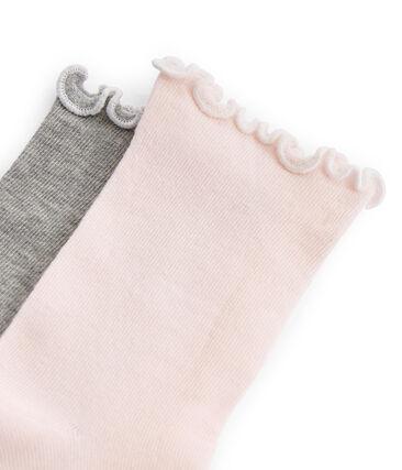 Juego de 2 pares de calcetines infantiles para niña