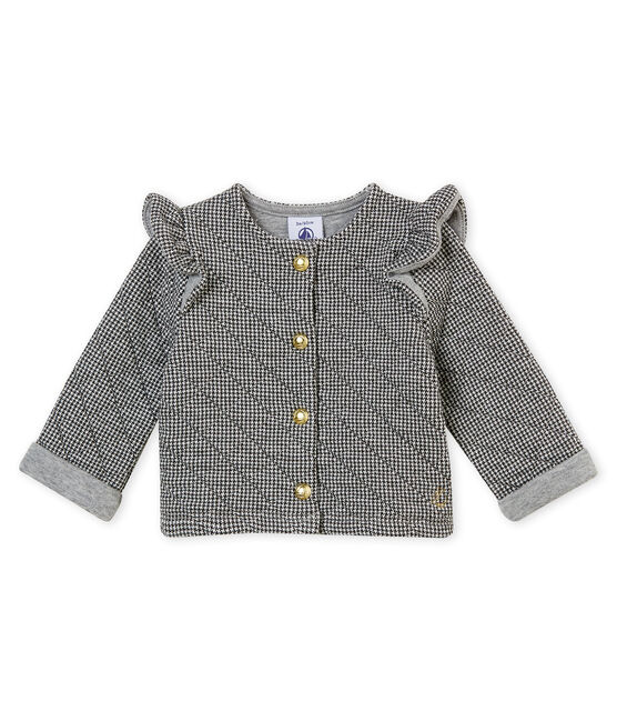 Cárdigan para bebé niña en túbico gris Capecod / blanco Marshmallow