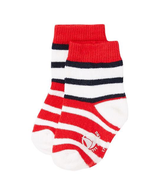 Calcetines de rayas para bebé niño rojo Peps / blanco Multico