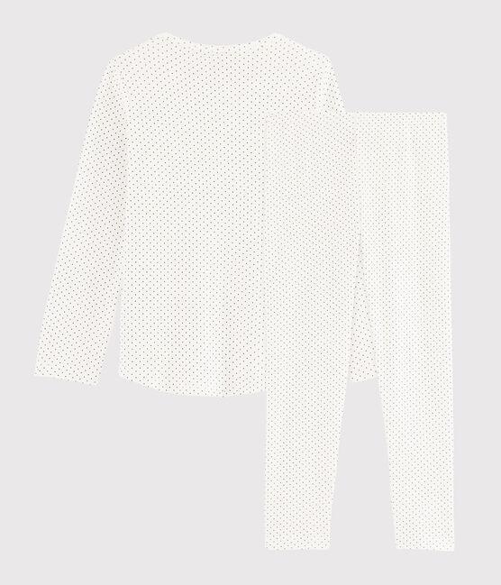 Pijama con lunares de niña de punto blanco Marshmallow / azul Medieval