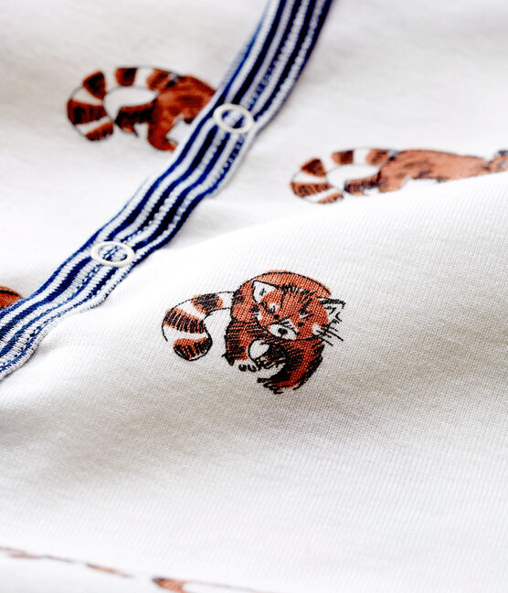 Pelele de punto acanalado para bebé de niño blanco Marshmallow / blanco Multico