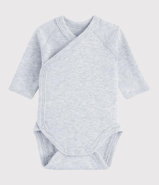 Bodi cruzado de manga larga de bebé niña/niño gris Poussiere Chine