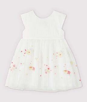 Vestido de celebración con tul bordado de bebé niña blanco Marshmallow / blanco Multico