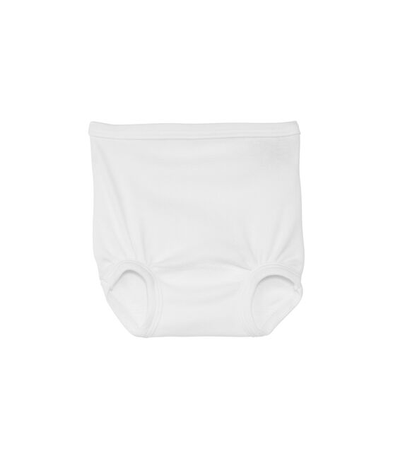 Baby plain cotton gathered pants blanco Ecume