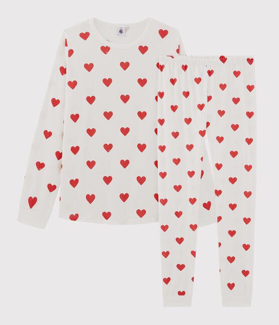 Pijama infantil de niño con corazones de punto blanco Marshmallow / rojo Terkuit