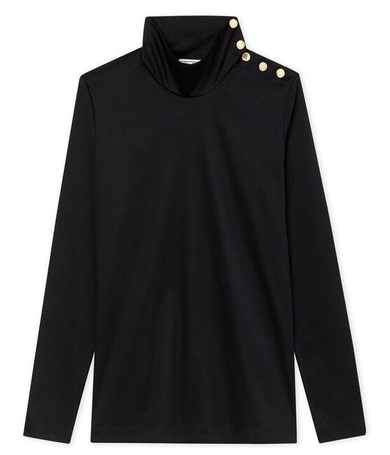Cuello alto para mujer con botones negro Noir