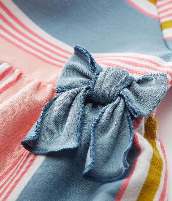 Vestido manga corta de rayas para bebé niña blanco Marshmallow / blanco Multico