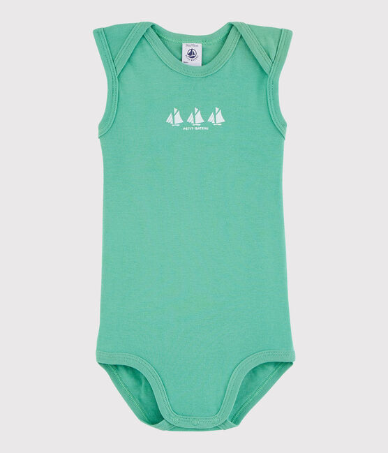 Bodi sin mangas de bebé niño verde Aloevera