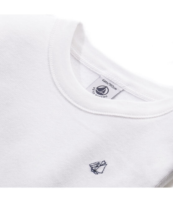 Boy's long-sleeved T-shirt in brushed cotton blanco Ecume