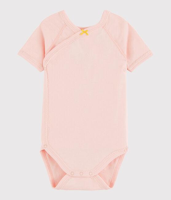 Bodi cruzado de manga corta de bebé niña rosa Minois