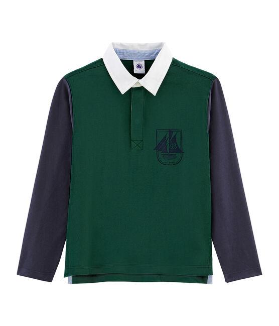 Polo de rugby para niño verde Sousbois / azul Smoking