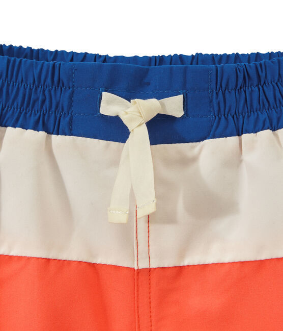 short de baño para niño tricolor naranja Orient / blanco Marshmallow