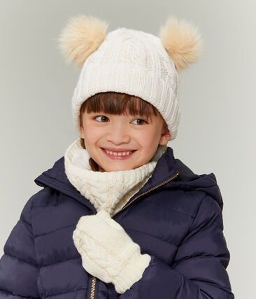 Cuello infantil para niña blanco Marshmallow / amarillo Or