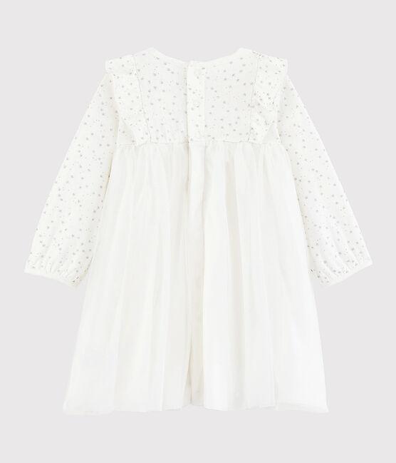 Vestido de manga larga para bebé niña blanco Marshmallow / gris Argent
