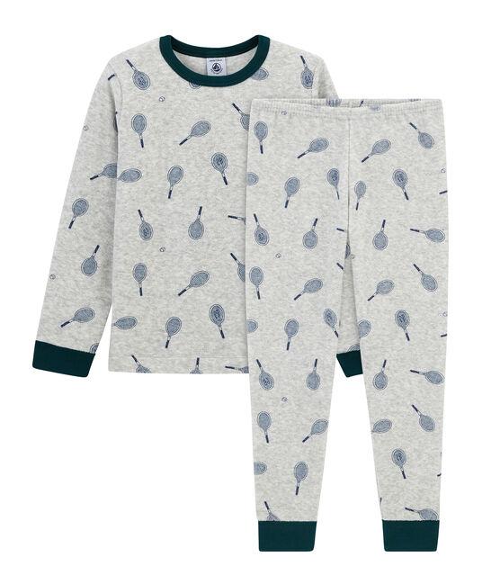 Pijama de rizo picado para niño gris Poussiere / azul Medieval
