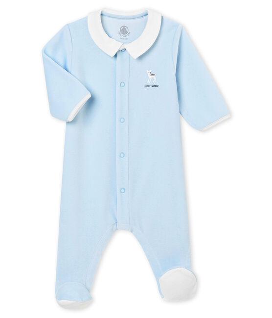 Pijama para bebé niño en terciopelo de algodón liso azul Fraicheur