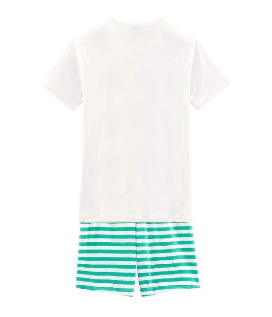 Pijama corto de punto para chico verde Esperanza / blanco Marshmallow