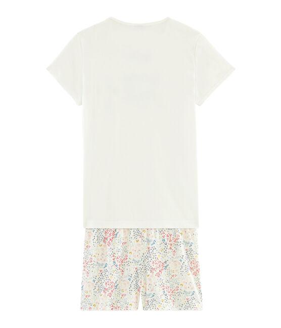 Pijama corto de punto para chica blanco Marshmallow / blanco Multico