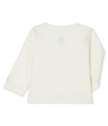 Cárdigan de canalé 2x2 para bebé blanco Marshmallow