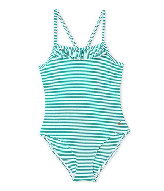 Bañador para niña verde Flag / blanco Lait