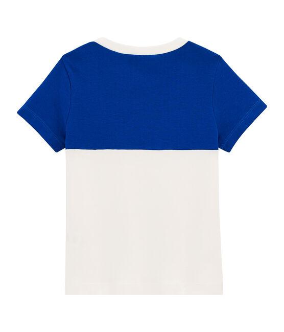 Camiseta de niño blanco Marshmallow / azul Surf