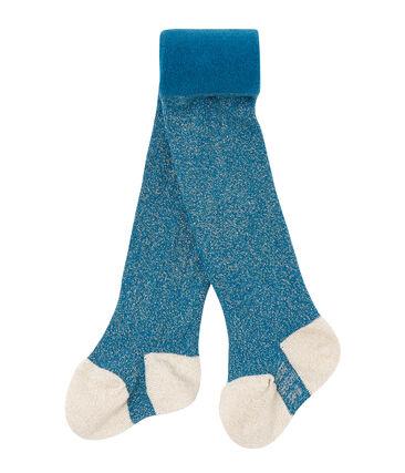 Leotardos de bebé niña en lurex azul Contes