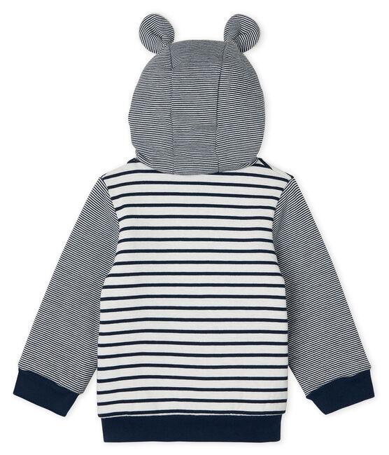 Sudadera con capucha de rayas marineras y forro de sherpa para bebé niño blanco Marshmallow / azul Smoking