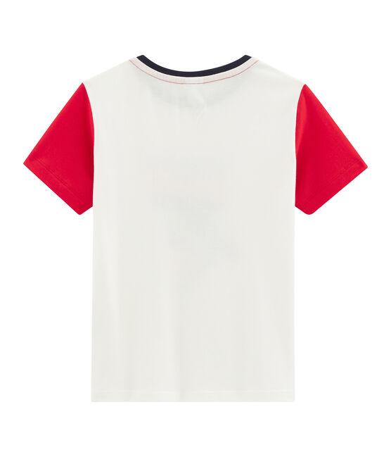 Camiseta de niño blanco Marshmallow / rojo Peps