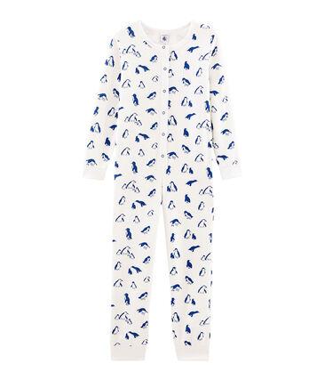 Buzo largo unisex de toalla de rizo picada muy cálido blanco Marshmallow / azul Major