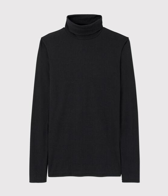 Camiseta de cuello alto emblemática de algodón de mujer negro Noir