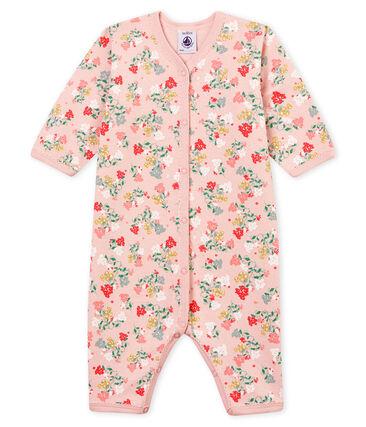 Pijama de bebé sin pies en tejido suave para niña rosa Joli / blanco Multico