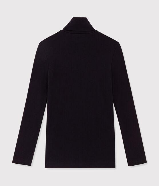 Camiseta de cuello alto emblemática de algodón de mujer azul Smoking