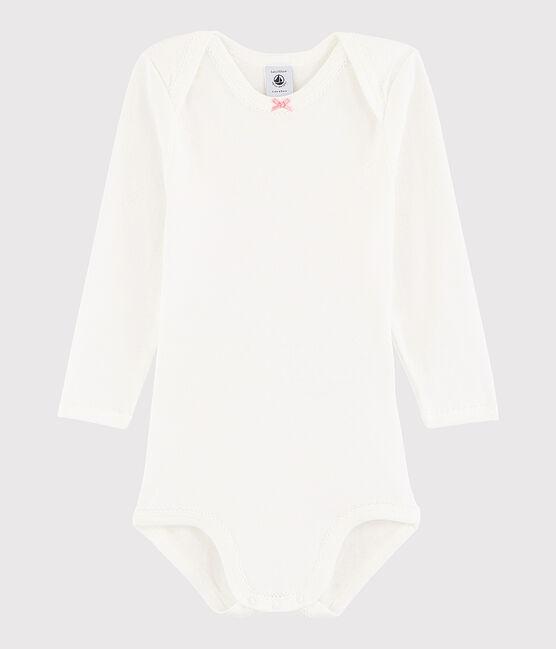 Bodi de manga larga de bebé niña blanco Marshmallow