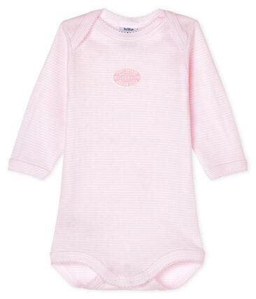 Bodi de manga larga para bebé niña rosa Pearl / blanco Multico