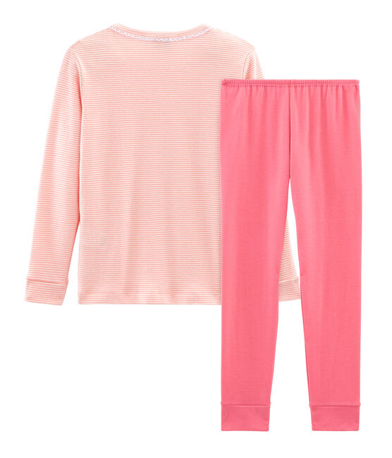Pijama de corte muy ajustado de punto para niña rosa Rosako / blanco Marshmallow