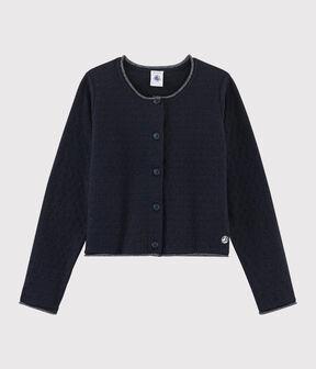 Rebeca de punto de lana y algodón de niña azul Smoking