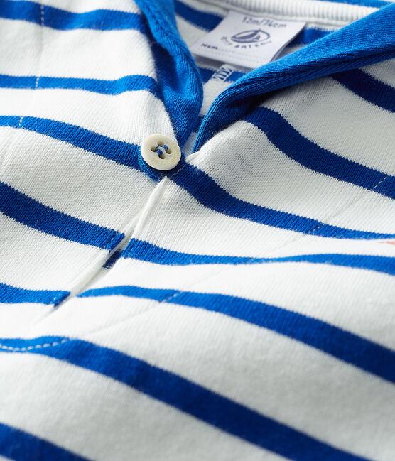 Mono corto de rayas para bebé niño blanco Marshmallow / azul Surf