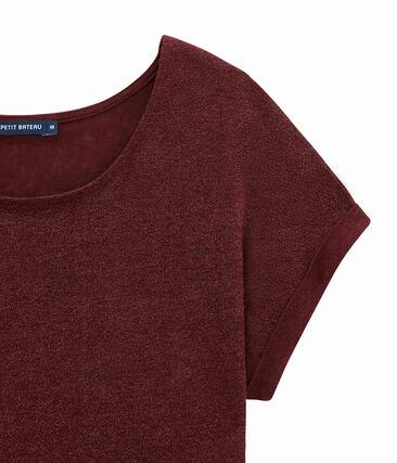 Camiseta de manga corta en lino brillante