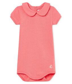 Body manga corta cuello claudine brillante para bebé niña