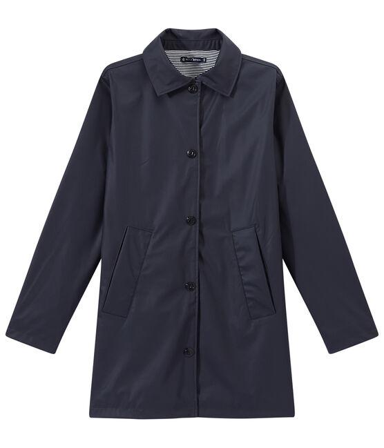 Chubasquero con forma de abrigo para mujer azul Smoking