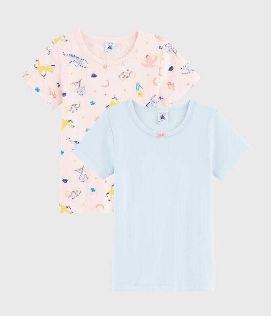 Juego de 2 camisetas de manga corta con animales yoga de niña pequeña lote .