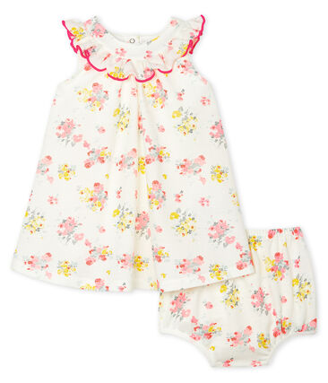 Vestido estampado y braguita «bloomer» para bebé niña blanco Marshmallow / blanco Multico