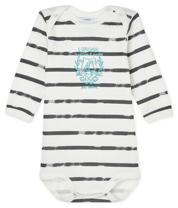 Bodi de manga larga para bebé niño blanco Lait / gris Maki